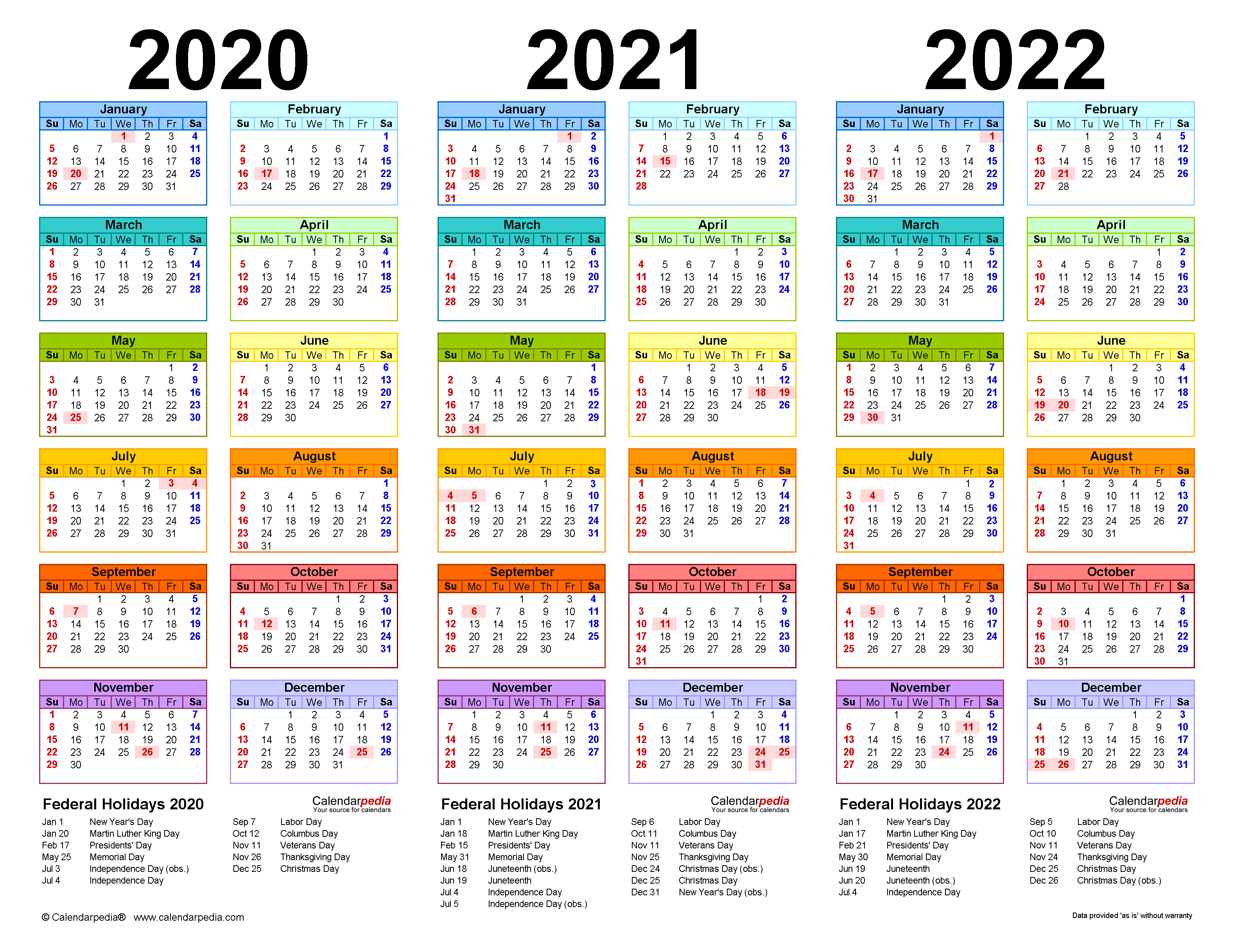 Calendar For 2021-2022 2020 2022 Three Year Calendar   Free Printable Excel Templates