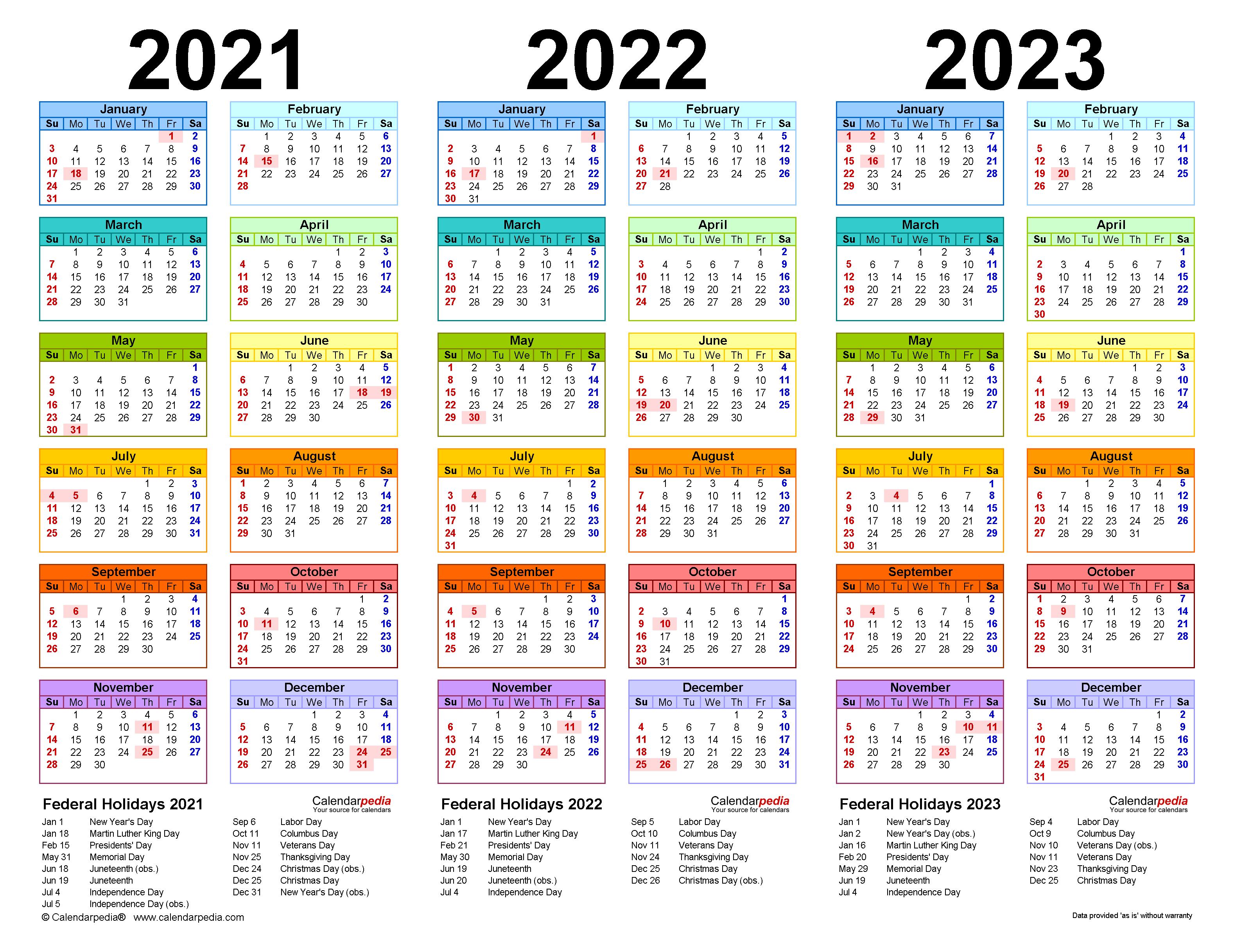 2021-2023 Three Year Calendar - Free Printable Excel Templates