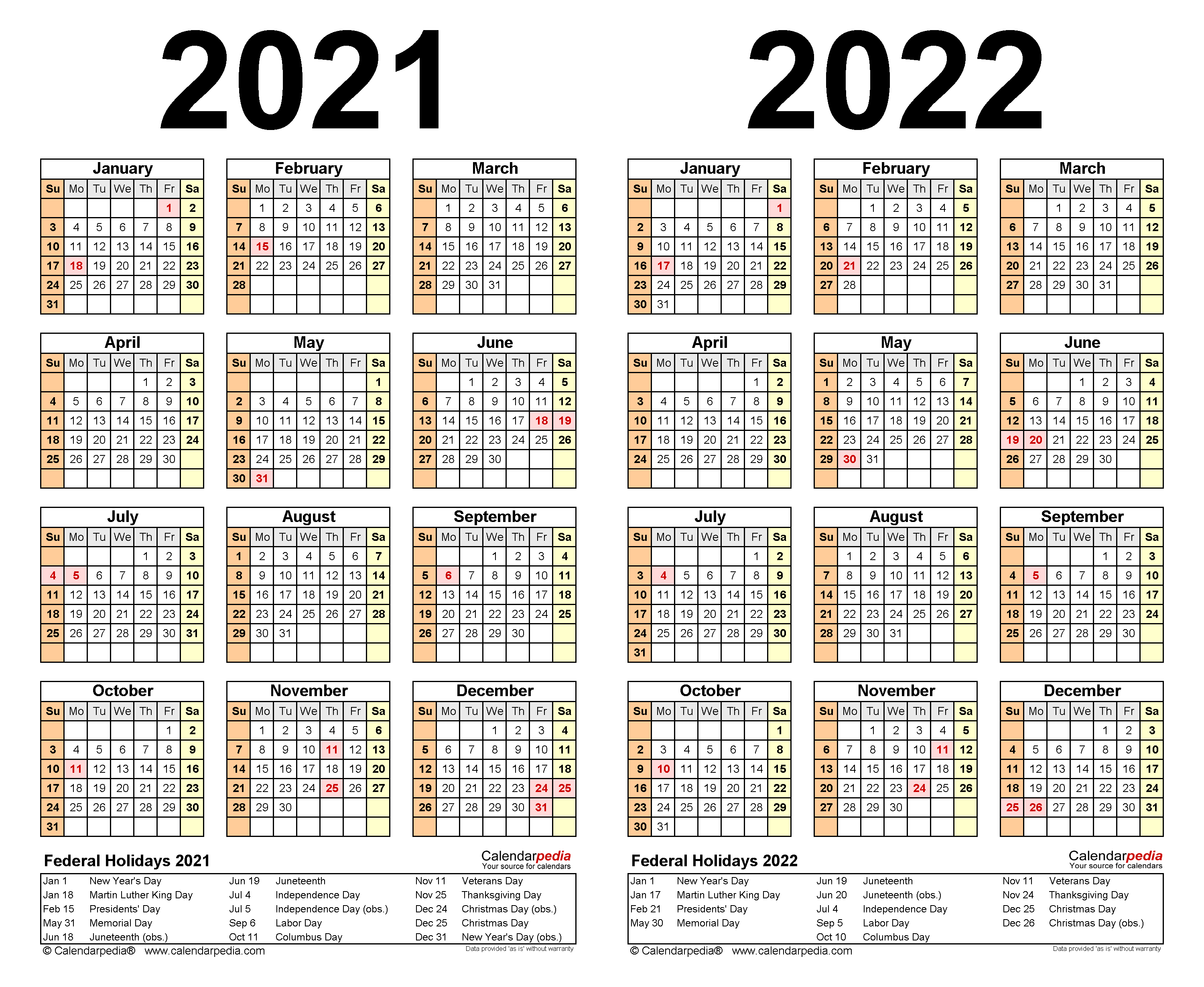 2021 2022 Two Year Calendar   Free Printable Word Templates