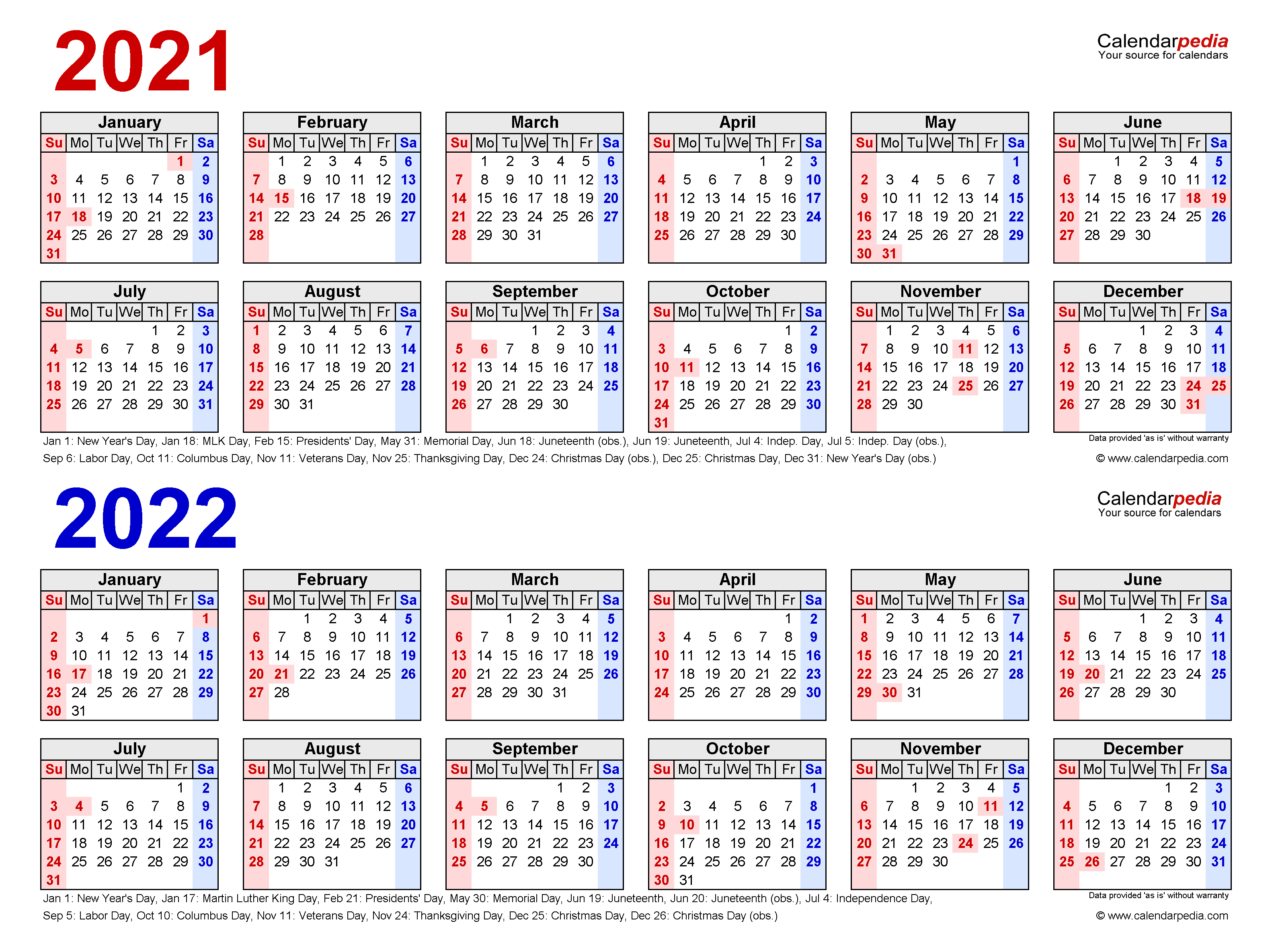 Calendar For 2021-2022 2021 2022 Two Year Calendar   Free Printable Word Templates