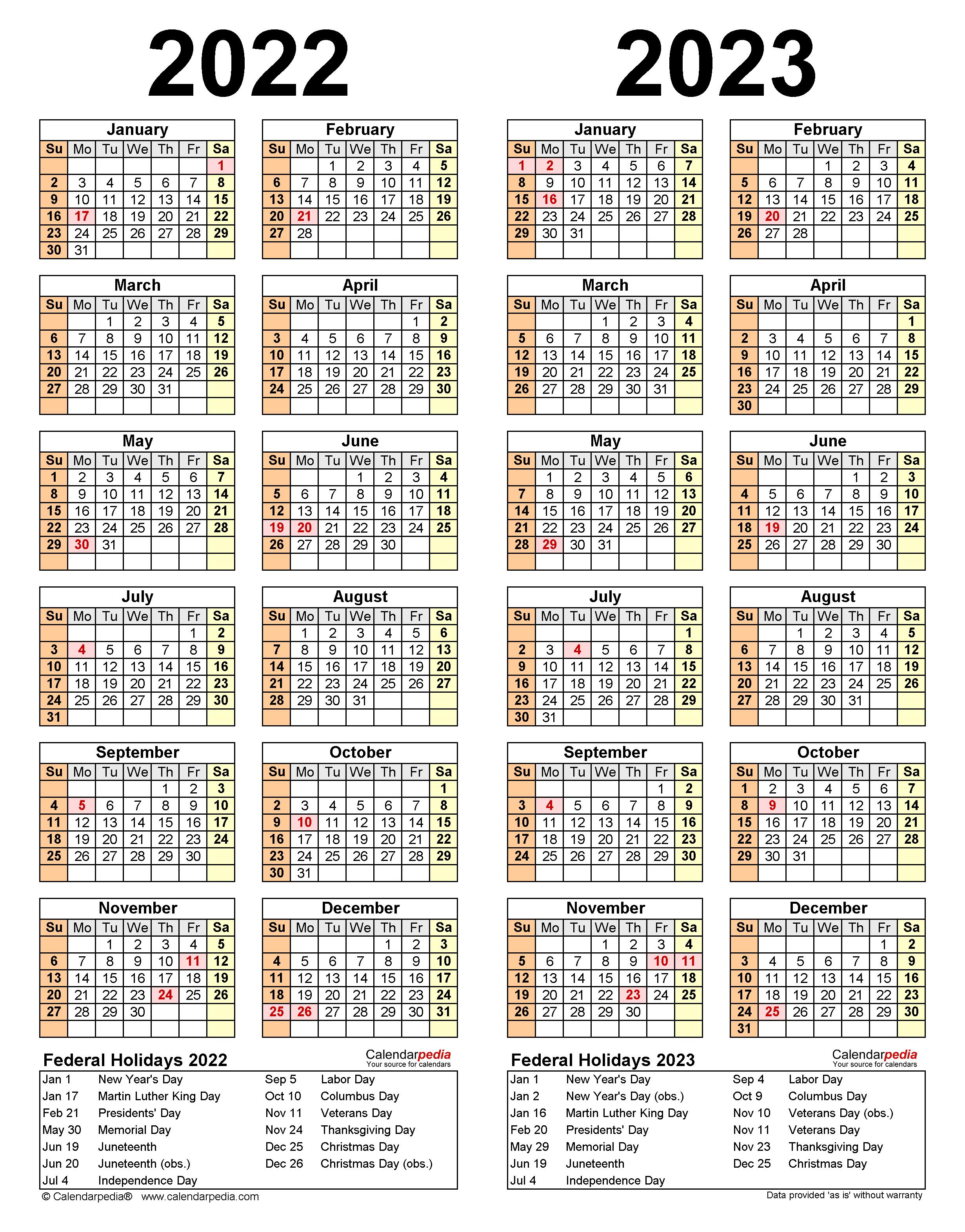Yale Calendar 2022 2023.2022 2023 Two Year Calendar Free Printable Excel Templates