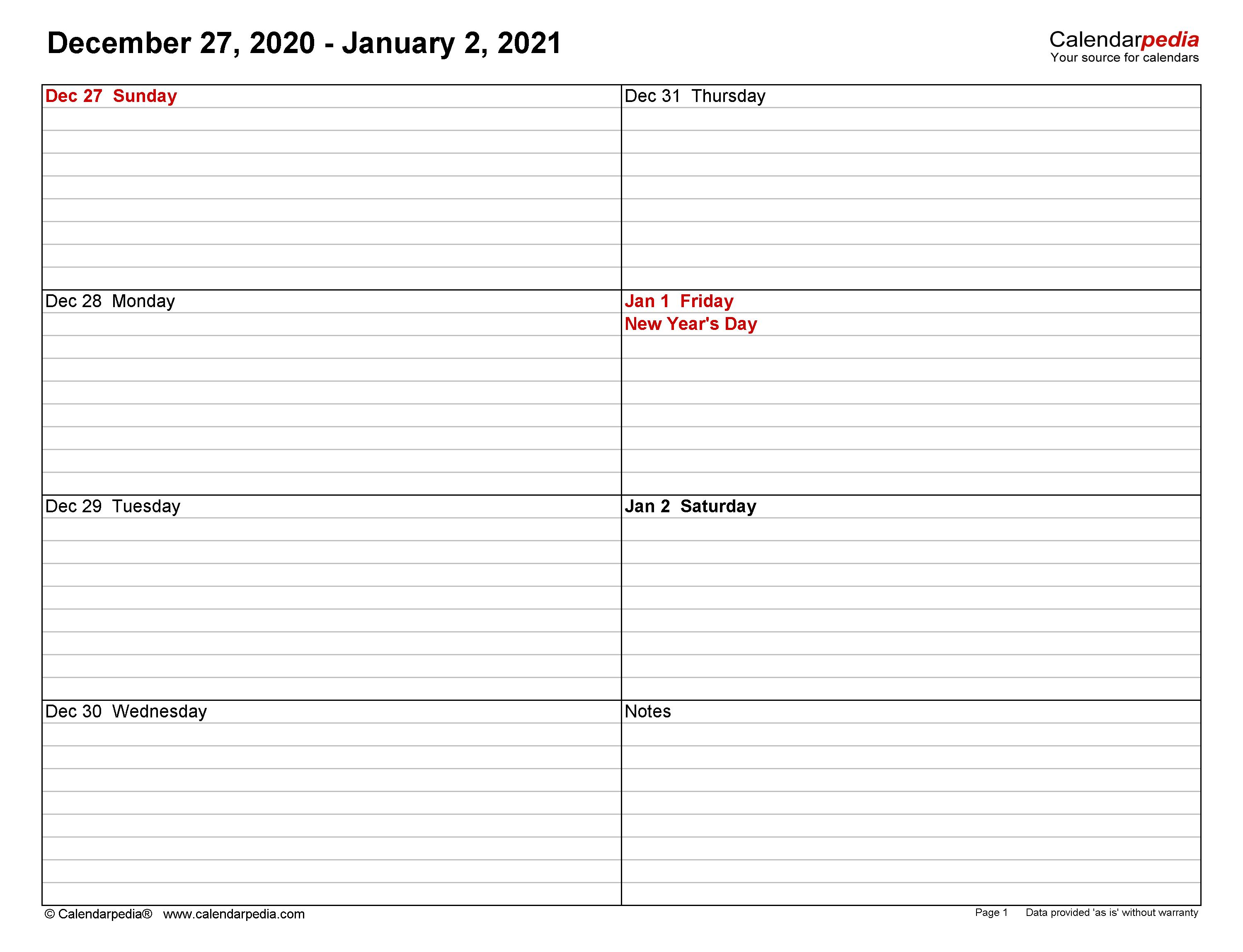 Free Editable Weekly 2021 Calendar / Weekly Calendar 2021 ...