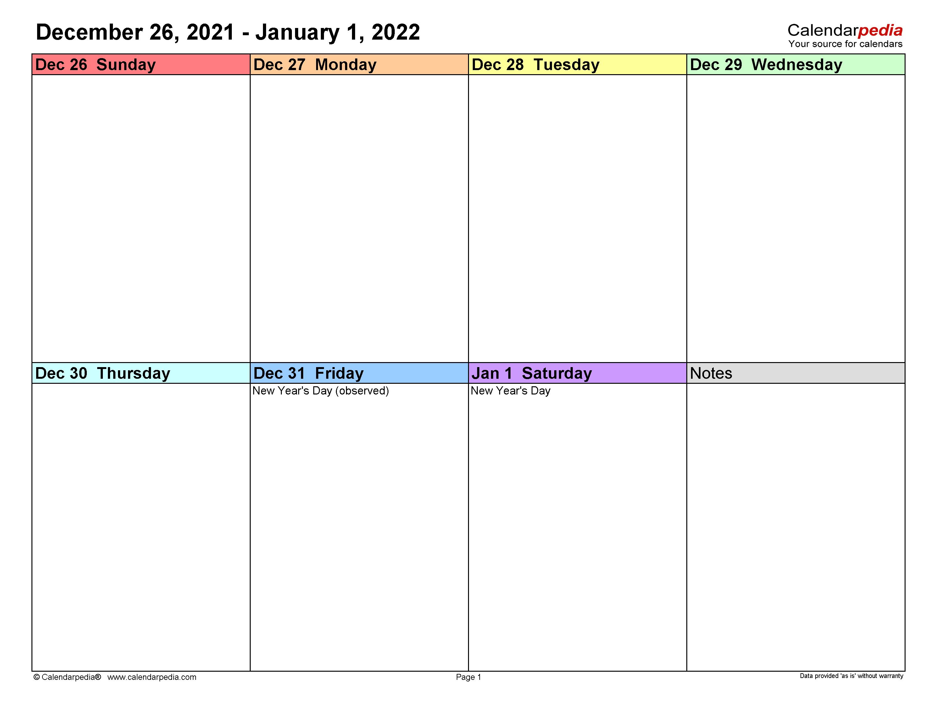 Work Week Calendar 2022.Weekly Calendars 2022 For Excel 12 Free Printable Templates