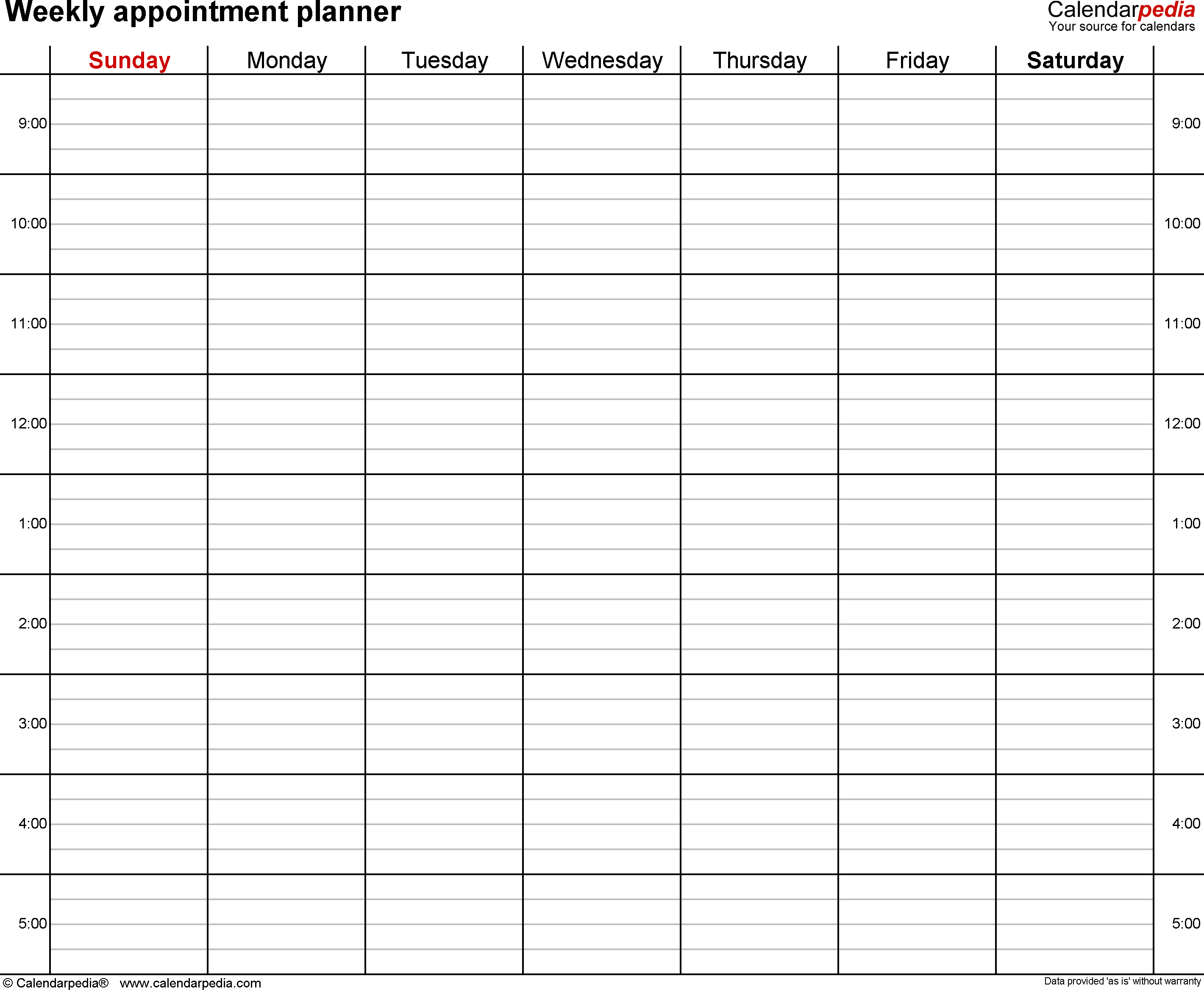 Free Weekly Planners for Microsoft Word - 21+ Templates Inside Appointment Sheet Template Word