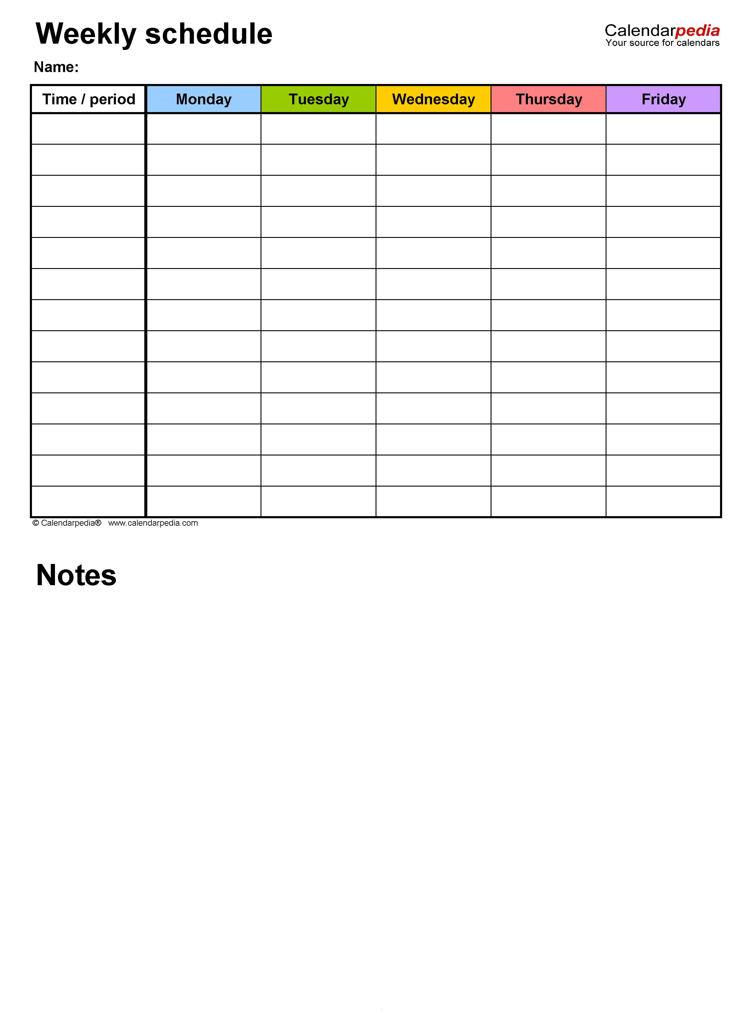 Free Online Schedule Template from www.calendarpedia.com