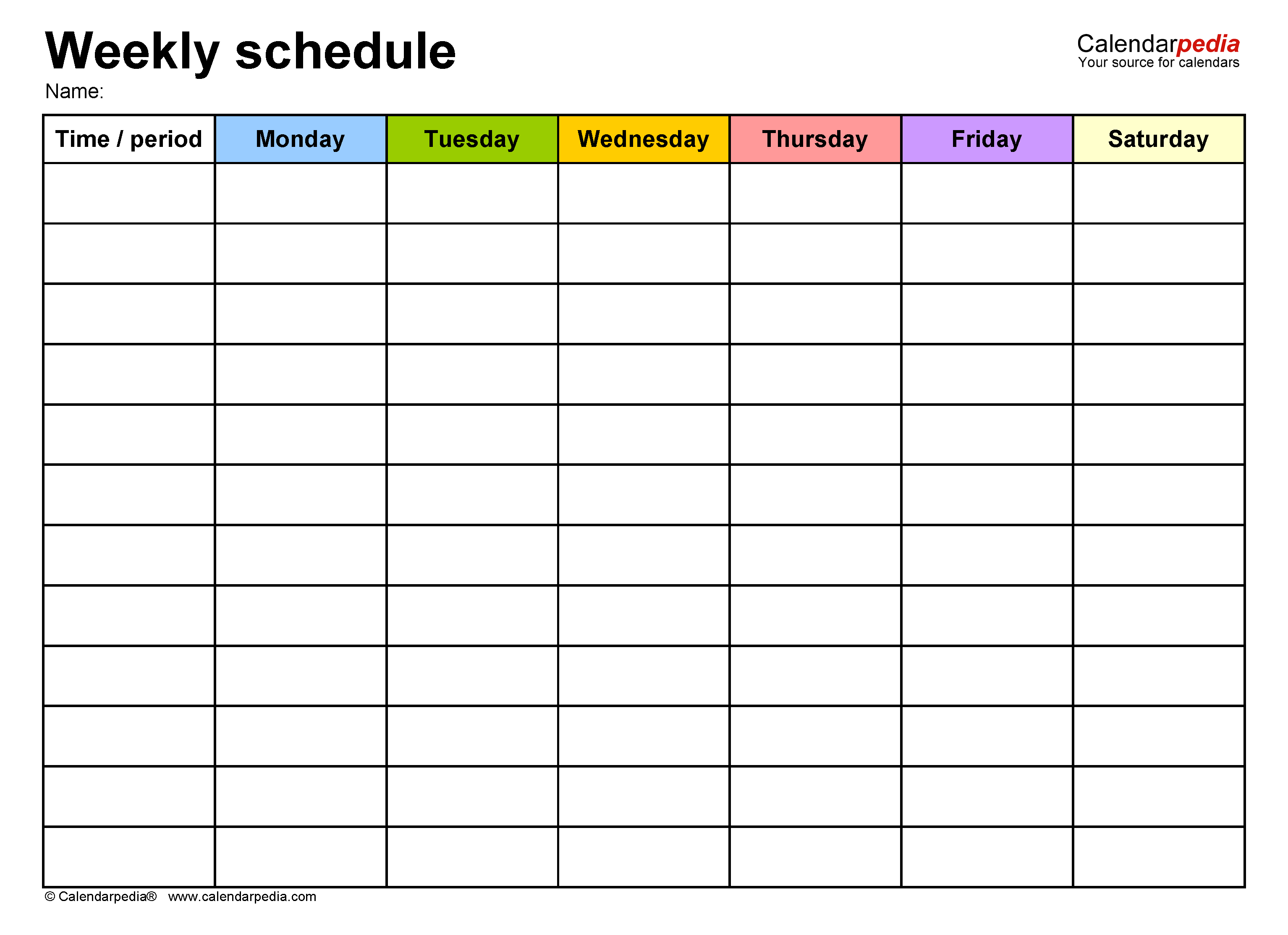 Free Weekly Schedules For Word 18 Templates