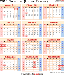 2010 Calendar for the USA, with US Federal Holidays