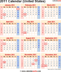 2011 calendar for the usa with us federal holidays