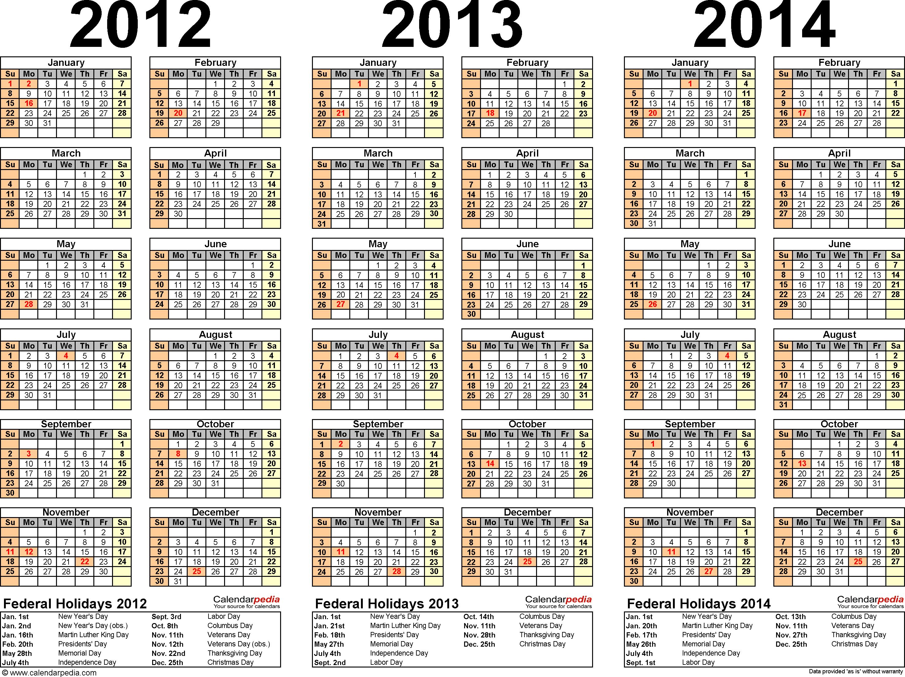 Yearly Calendars 2012 2013 2014 2015