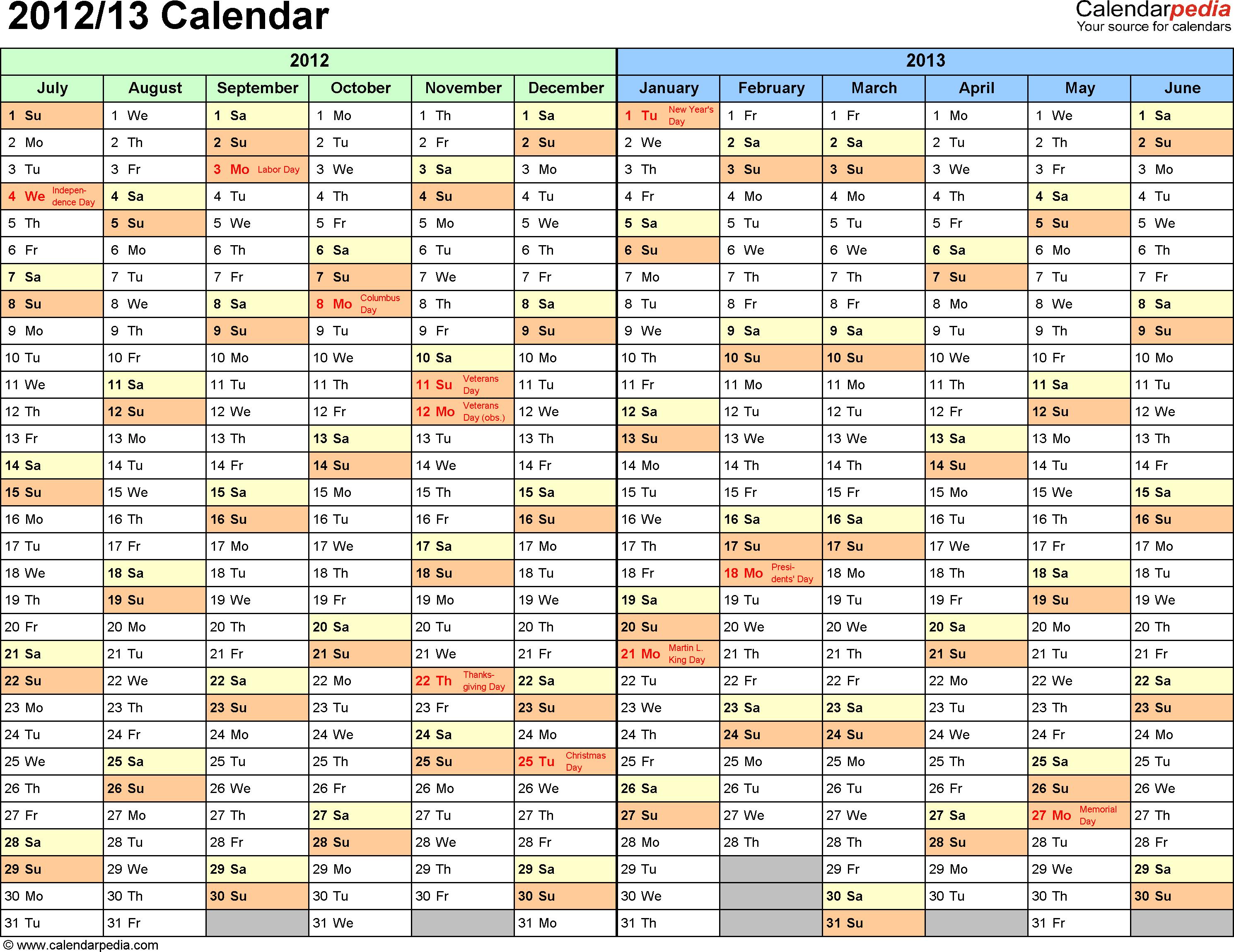 Half Year Calendar Printable : Calendar free printable two year word calendars