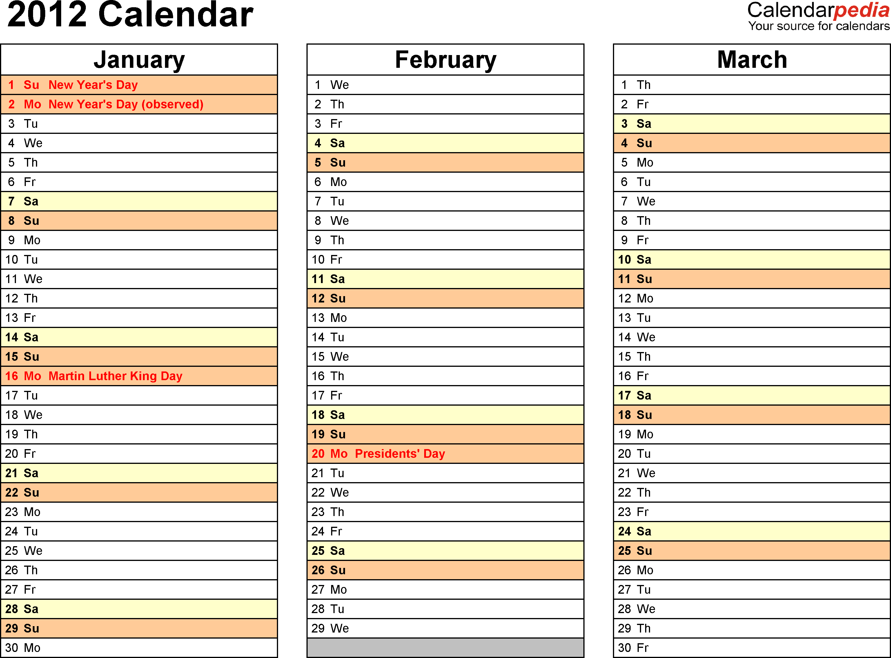 Download Download PDF template for 2012 calendar template 4: landscape orientation, 4 pages, months horizontally, days vertically