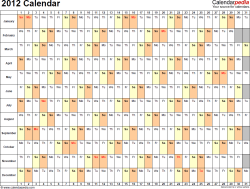 Download PDF template for 2012 calendar template 3: landscape orientation, 1 page, days horizontally, months vertically