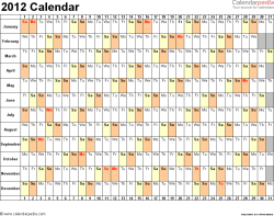 Download Word template for 2012 calendar template 3: landscape orientation, 1 page, days horizontally, months vertically