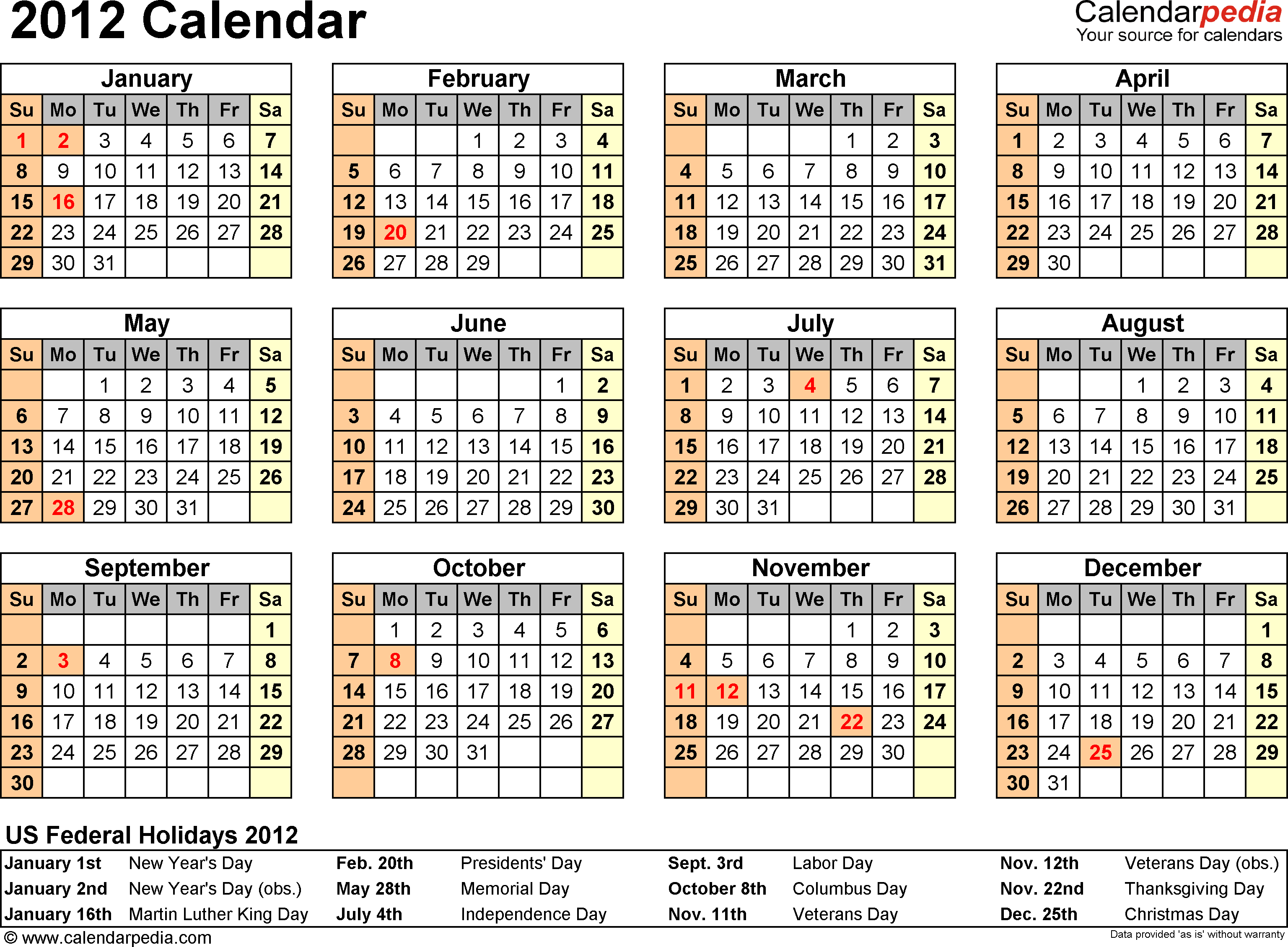 Download Download PDF template for 2012 calendar template 6: year at a glance, 1 page