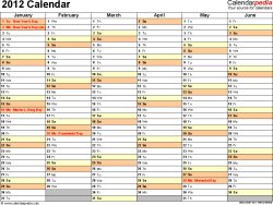 Download Excel template for 2012 calendar template 4: landscape orientation, 2 pages, months horizontally, days vertically