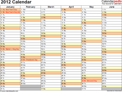 Download PDF template for 2012 calendar template 4: landscape orientation, 2 pages, months horizontally, days vertically