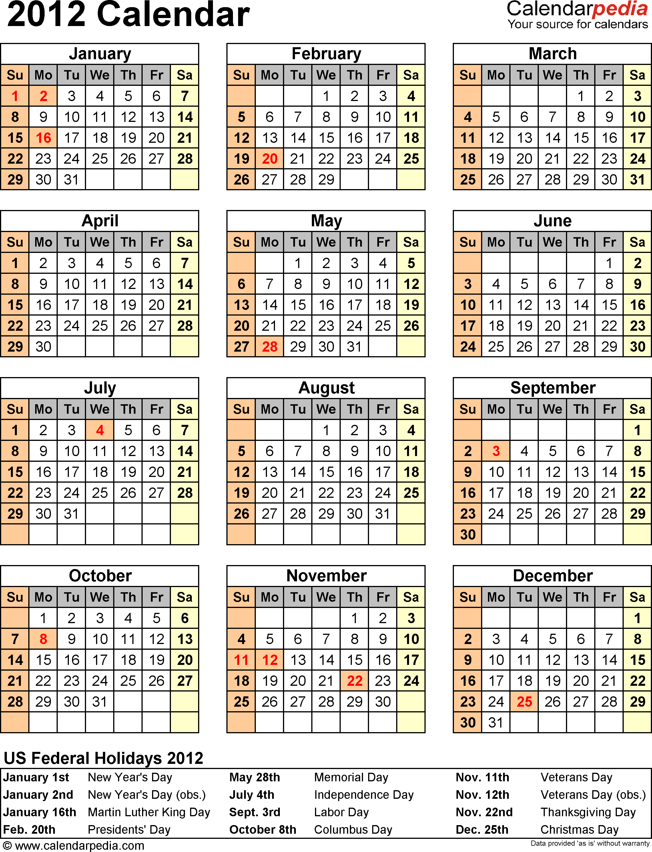 Download Download PDF template for 2012 calendar template 10: portrait orientation, 1 page