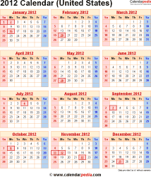 2012 Calendar with Federal Holidays & Excel/PDF/Word templates