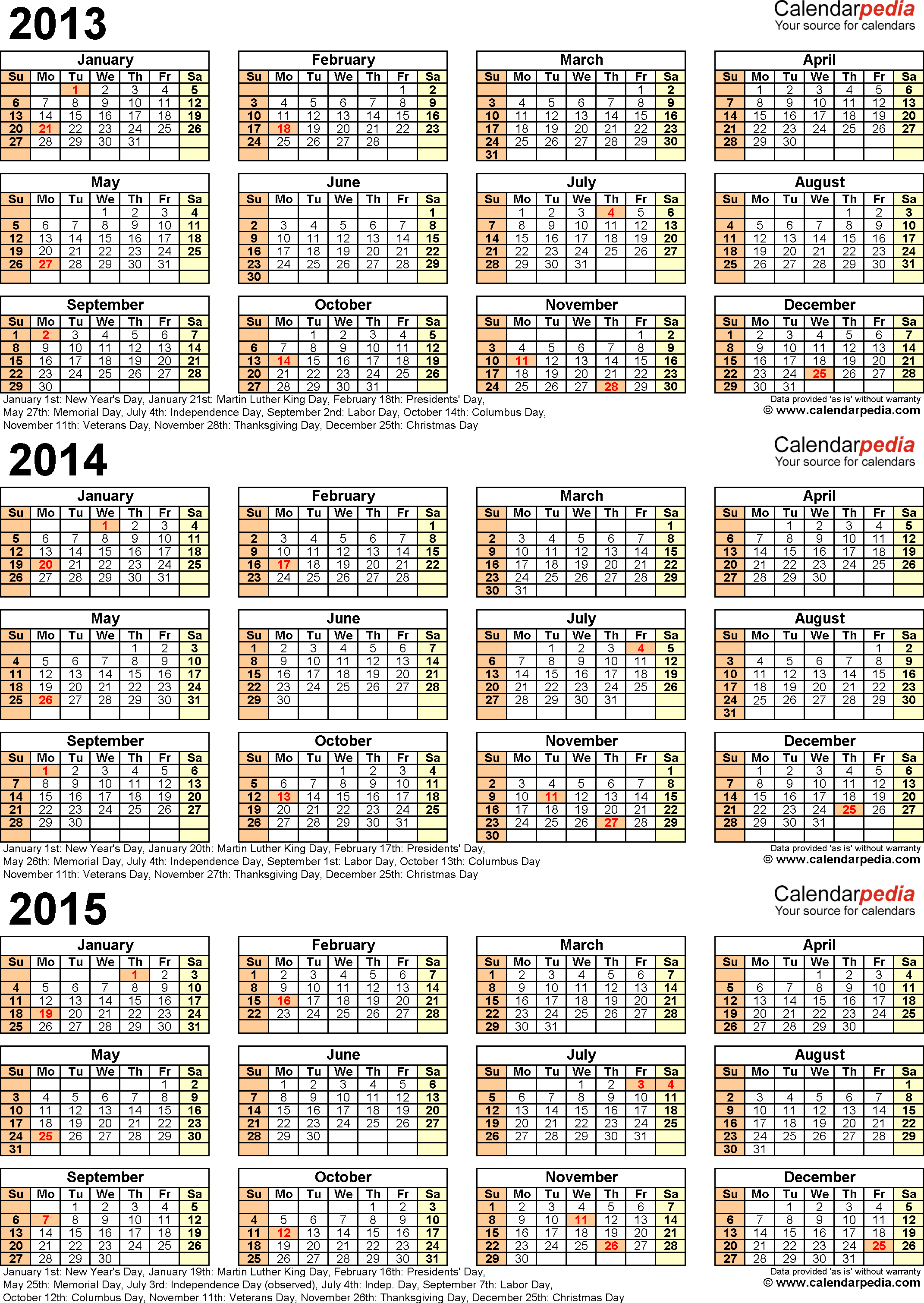 Template 6: Excel template for three year calendar 2013/2014/2015 (portrait orientation, 1 page)