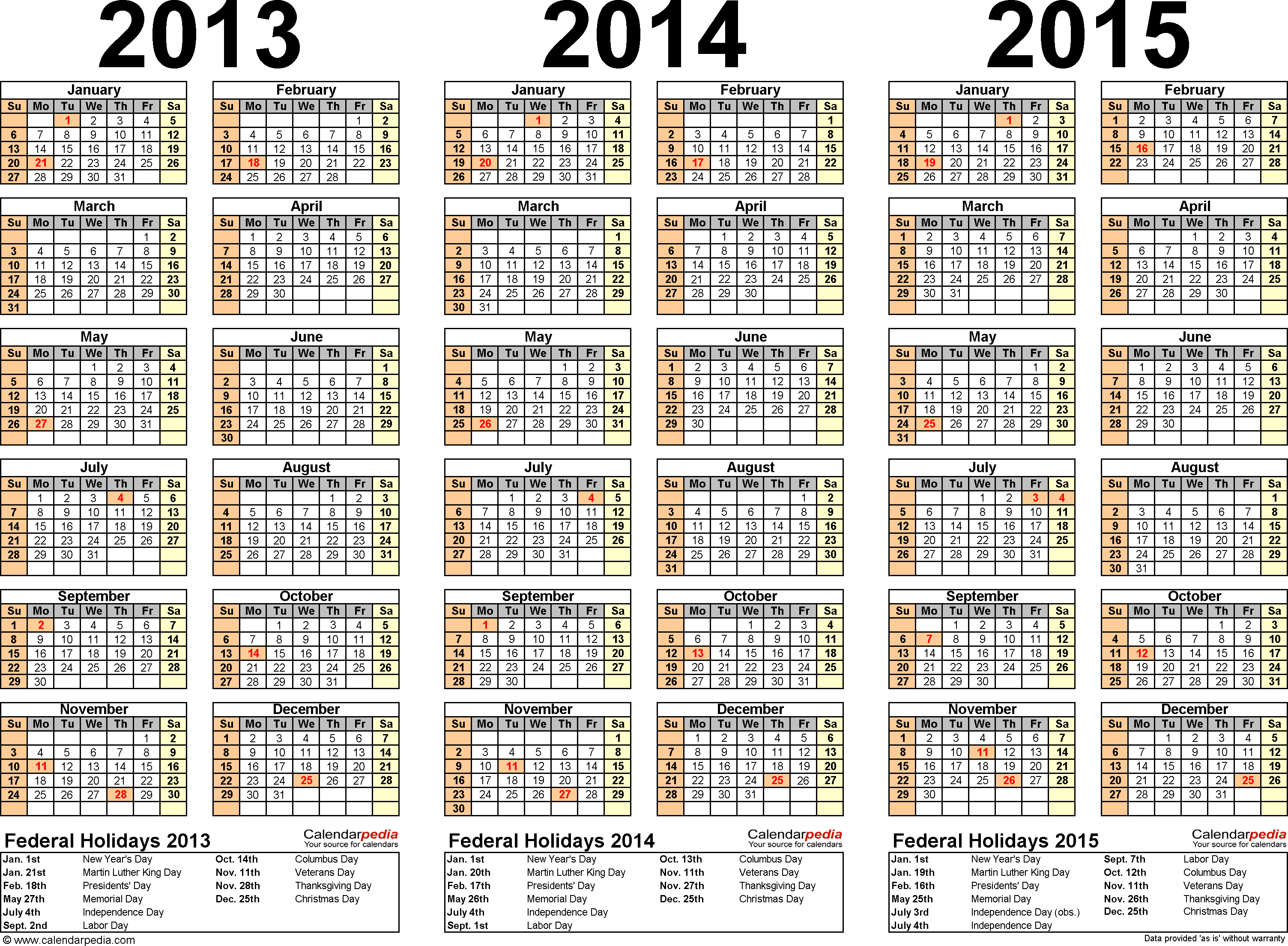 Template 5: Excel template for three year calendar 2013/2014/2015 (landscape orientation, 1 page)
