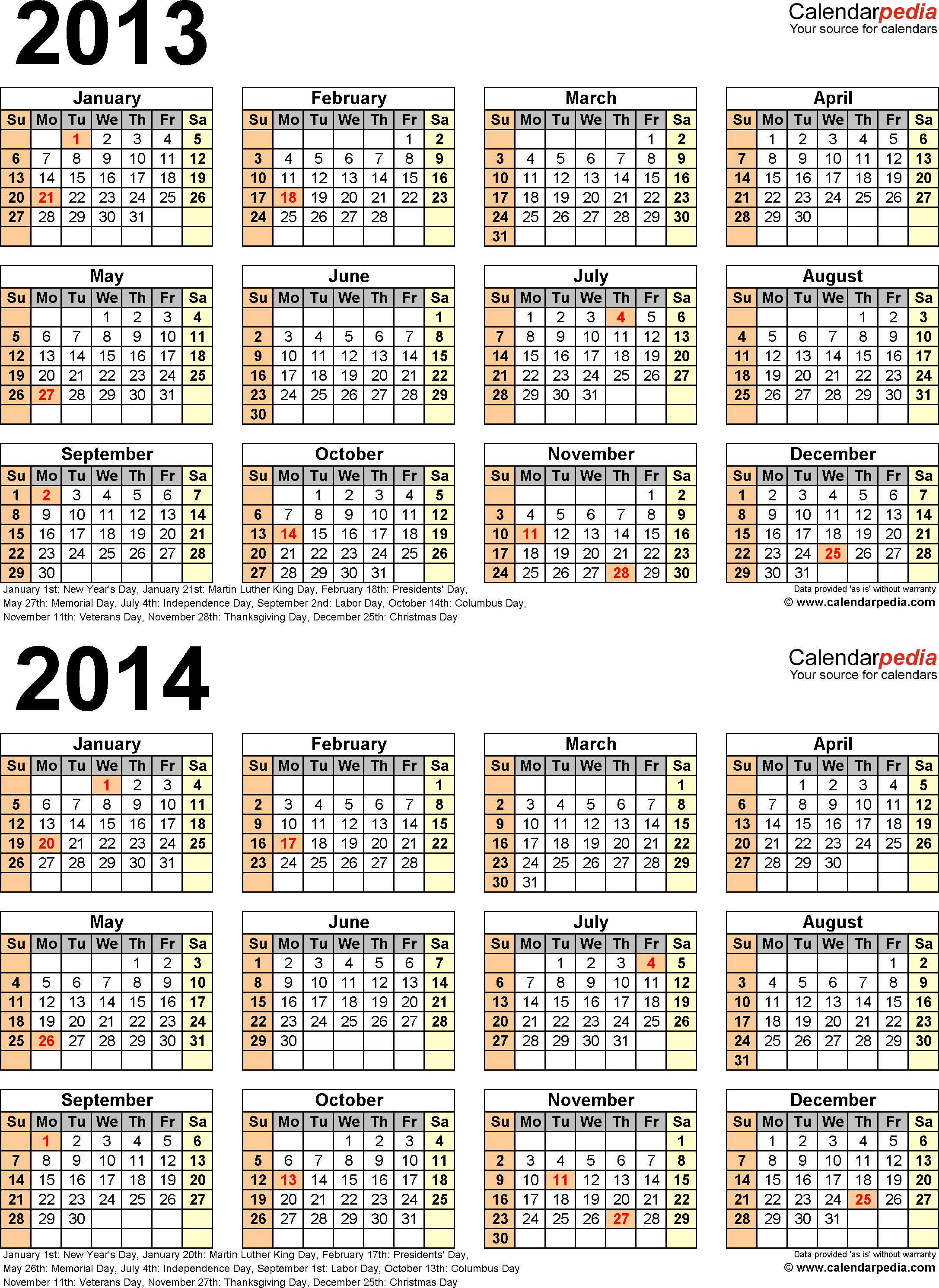 Template 4: Excel template for two year calendar 2013/2014 (portrait orientation, 1 page)