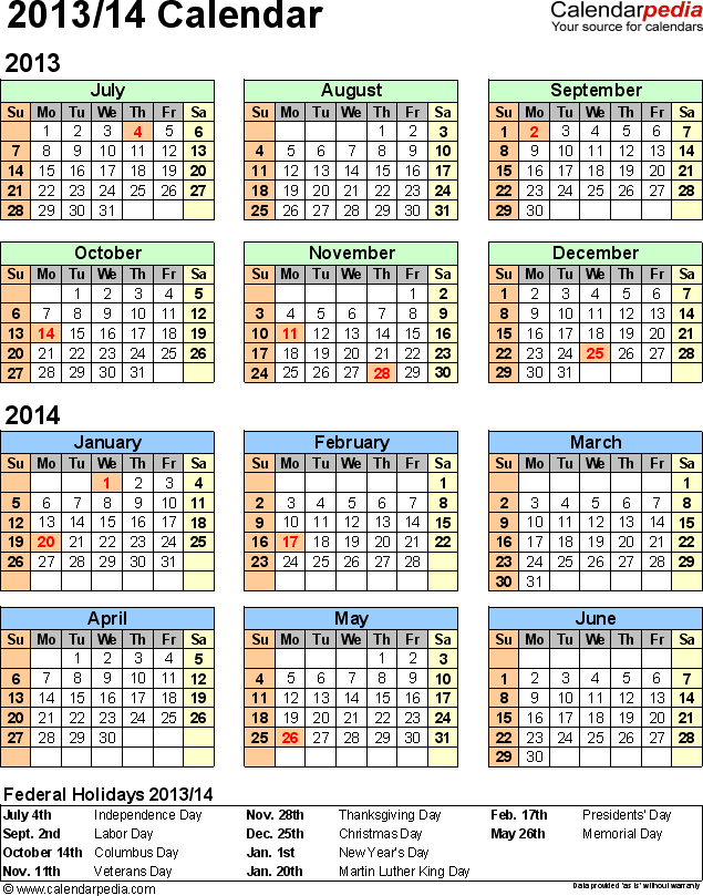 Template 2: Excel template for half year calendar 2013/2014 (portrait orientation, 1 page)