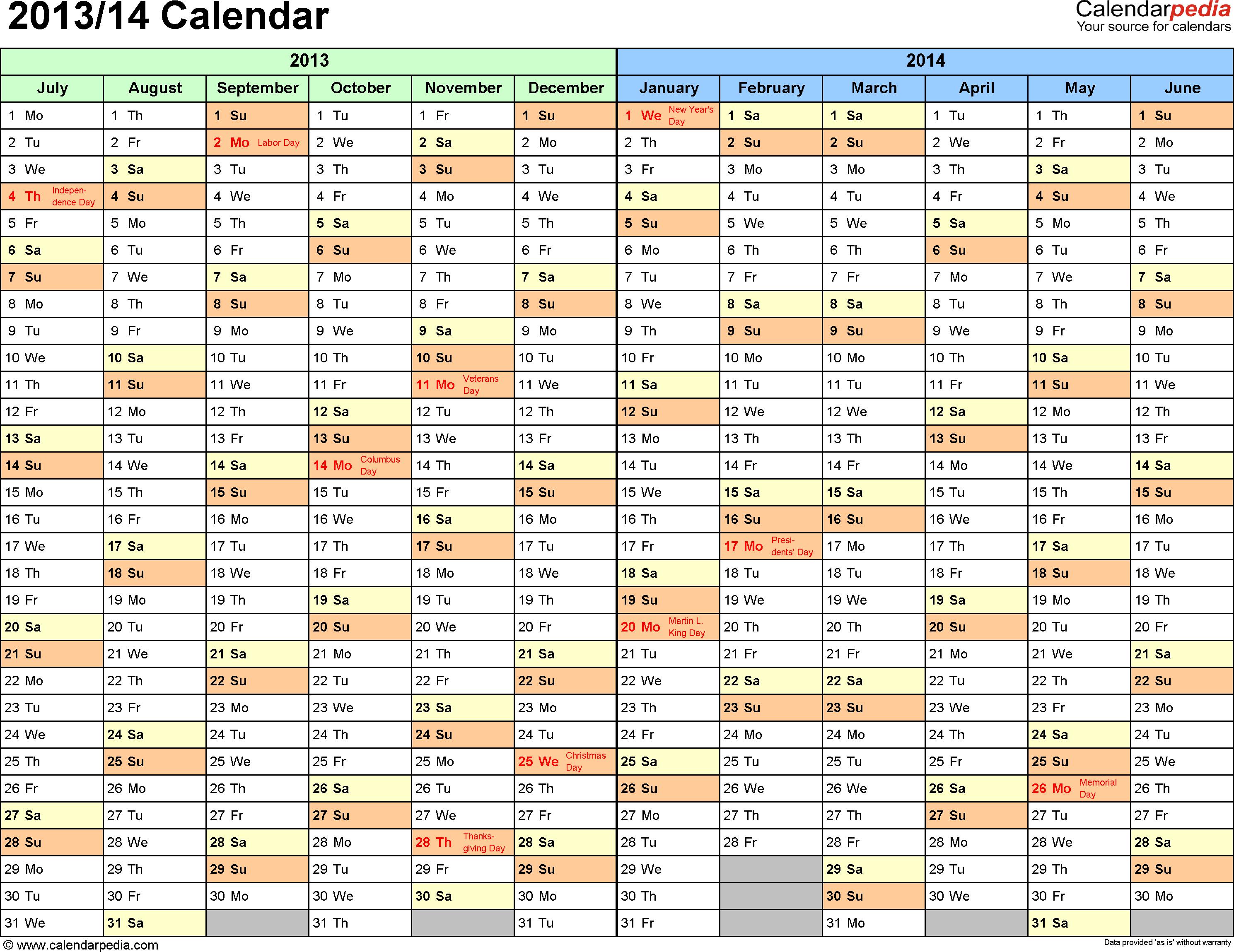 Half Year Calendar : Split year calendar printable pdf templates