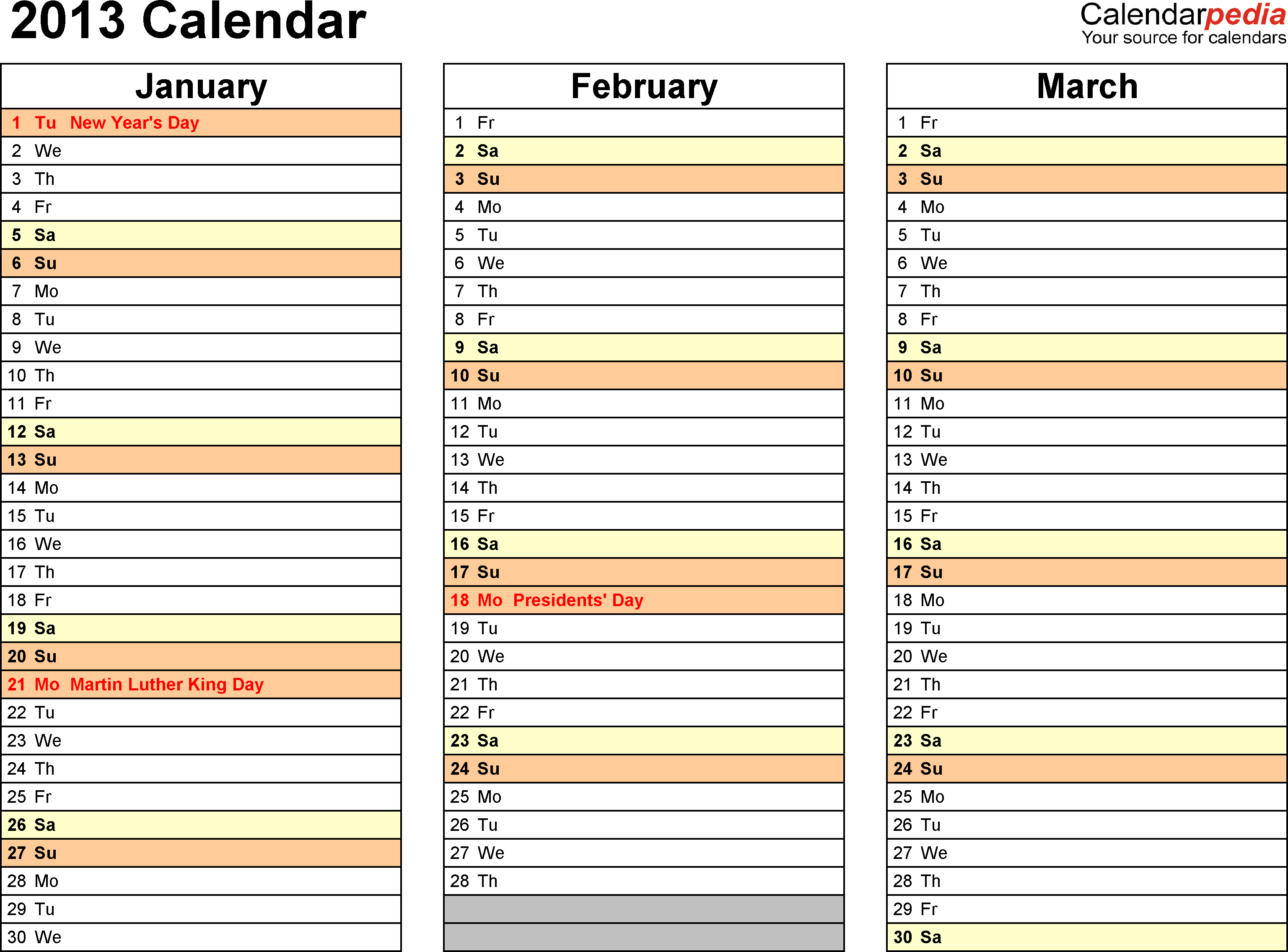 Download PDF template for 2013 calendar template 6: landscape orientation, 4 pages, months horizontally, days vertically, with US federal holidays 2013, paper format: US letter