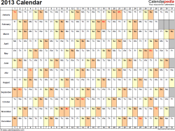 Download PDF template for 2013 calendar template 3: landscape orientation, 1 page, days horizontally, months vertically, with US federal holidays 2013, paper format: US letter