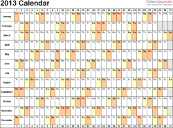 Download Word template for 2013 calendar template 3: landscape orientation, 1 page, days horizontally, months vertically, with US federal holidays 2013, paper format: US letter