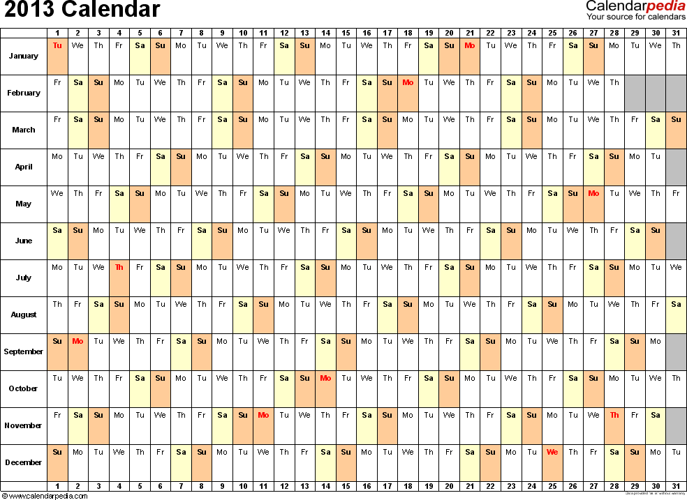 Download Excel template for 2013 calendar template 3: landscape orientation, 1 page, days horizontally, months vertically, with US federal holidays 2013, paper format: US letter