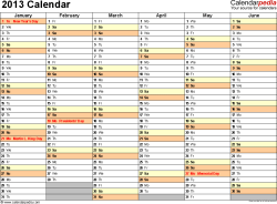 Download Excel template for 2013 calendar template 4: landscape orientation, 2 pages, months horizontally, days vertically, with US federal holidays 2013, paper format: US letter