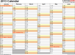 Download PDF template for 2013 calendar template 4: landscape orientation, 2 pages, months horizontally, days vertically