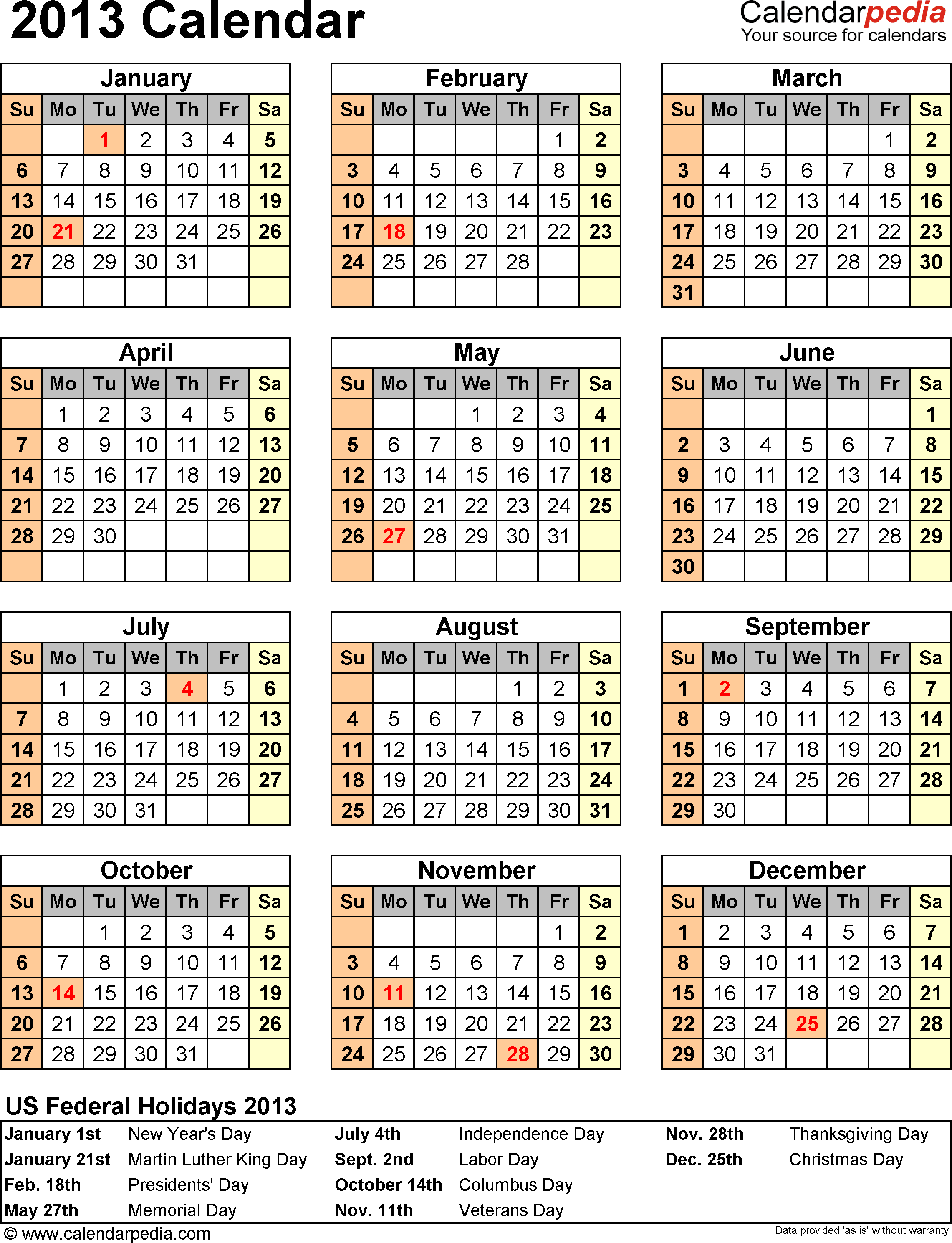 Download PDF template for 2013 calendar template 11: portrait orientation, 1 page, with US federal holidays 2013, paper format: US letter