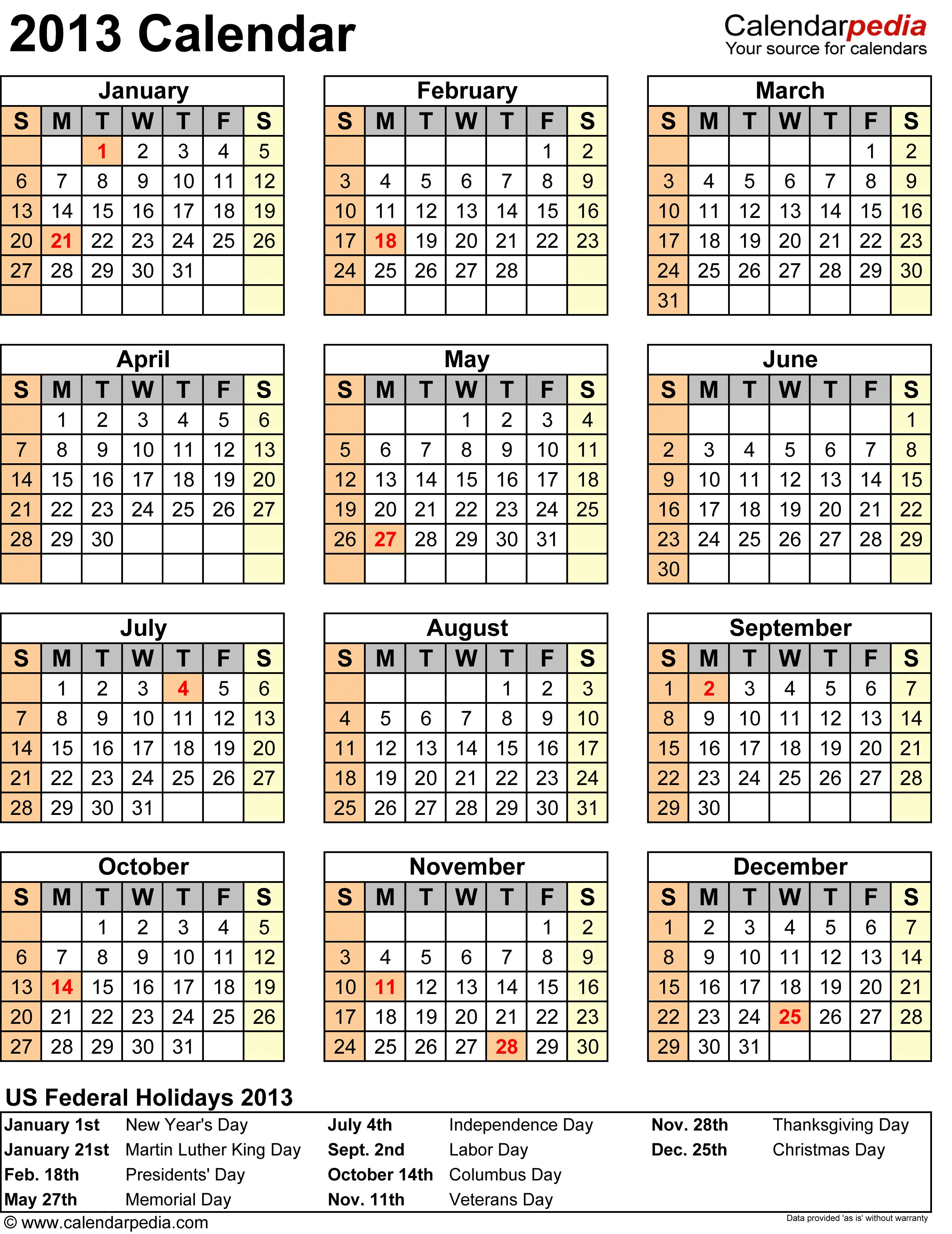 2013 Calendar with Federal Holidays & Excel/PDF/Word templates