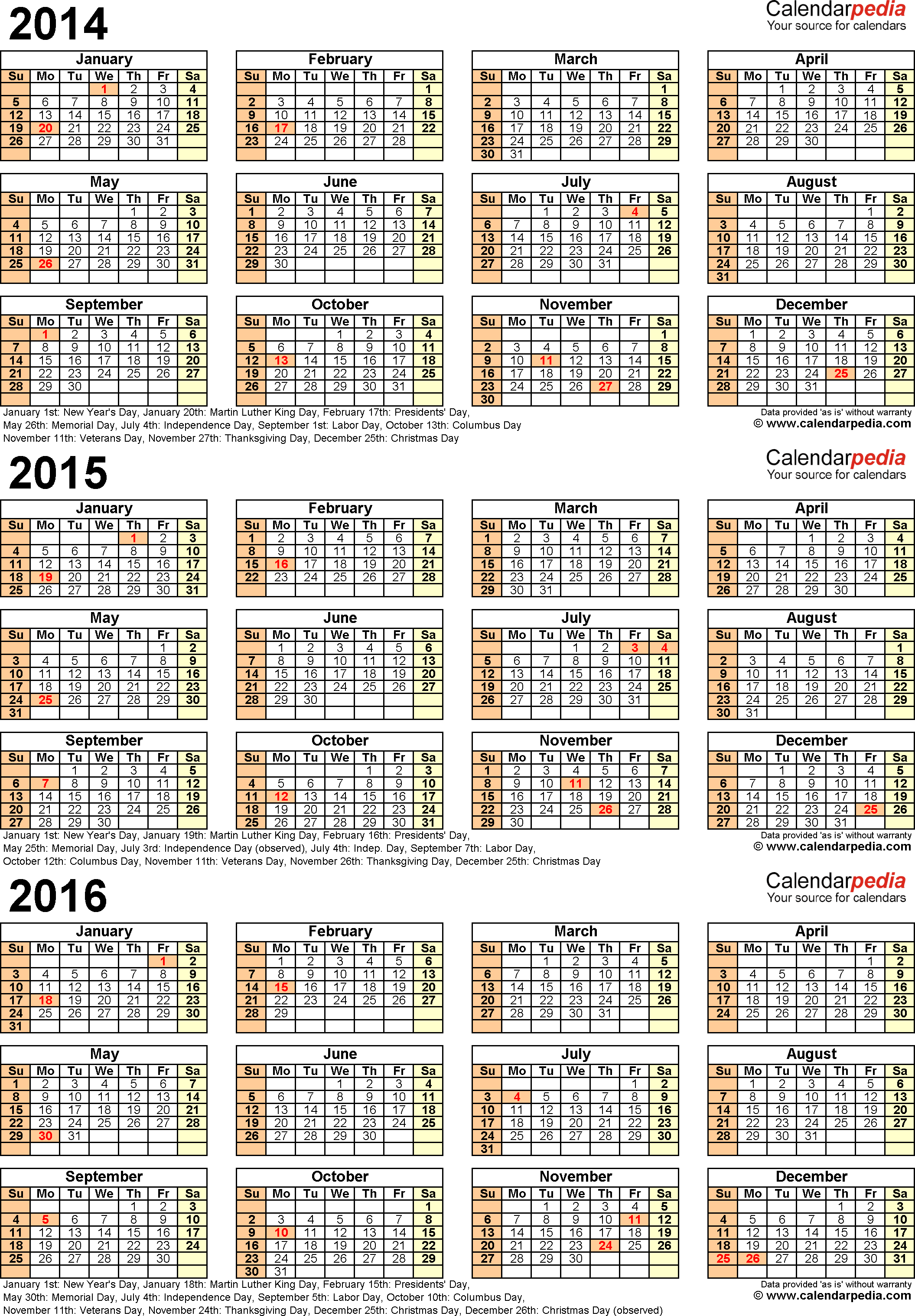Template 6: Word template for three year calendar 2014/2015/2016 (portrait orientation, 1 page)