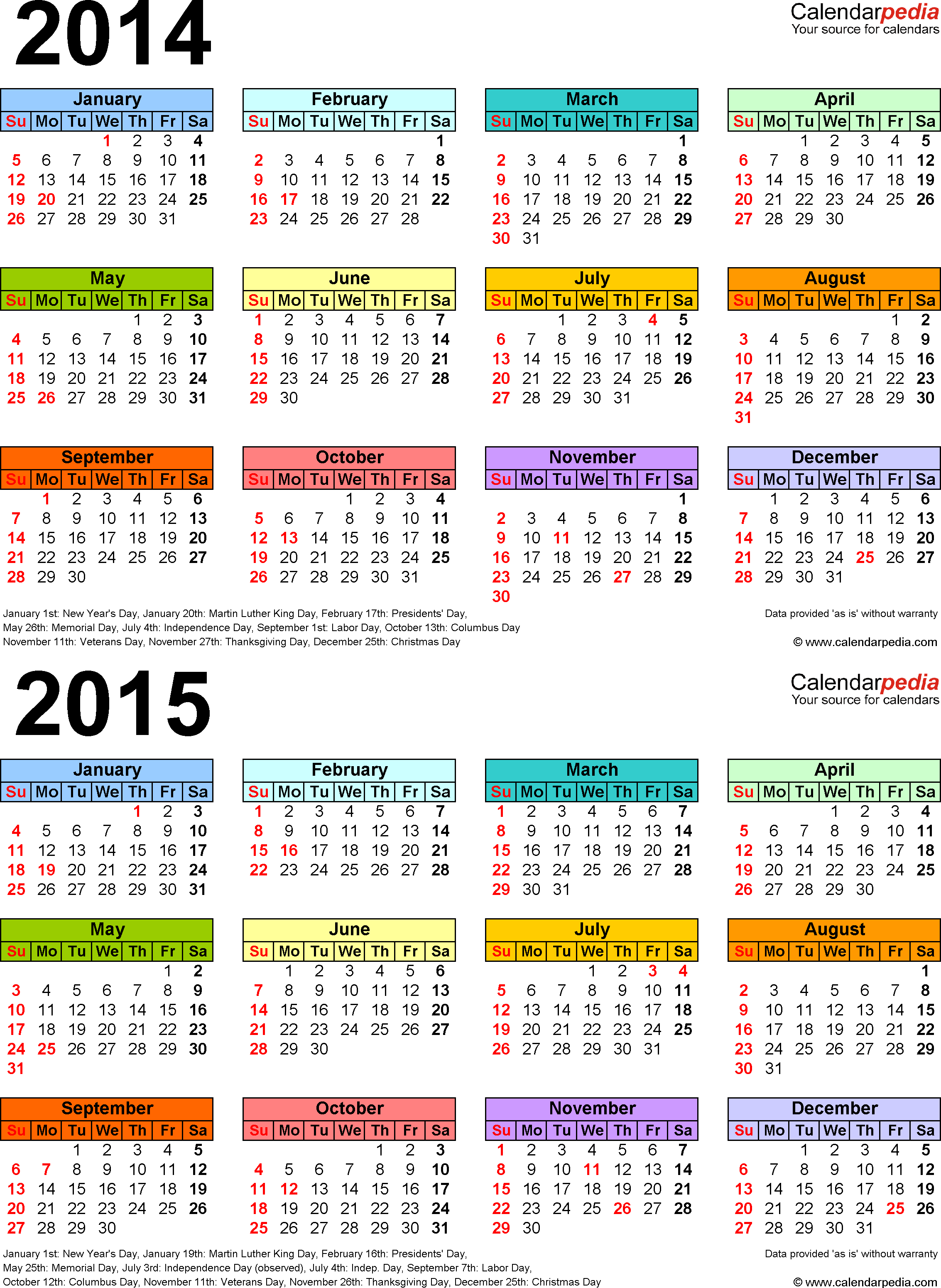 Template 4: Word template for two year calendar 2014/2015 (portrait orientation, 1 page)