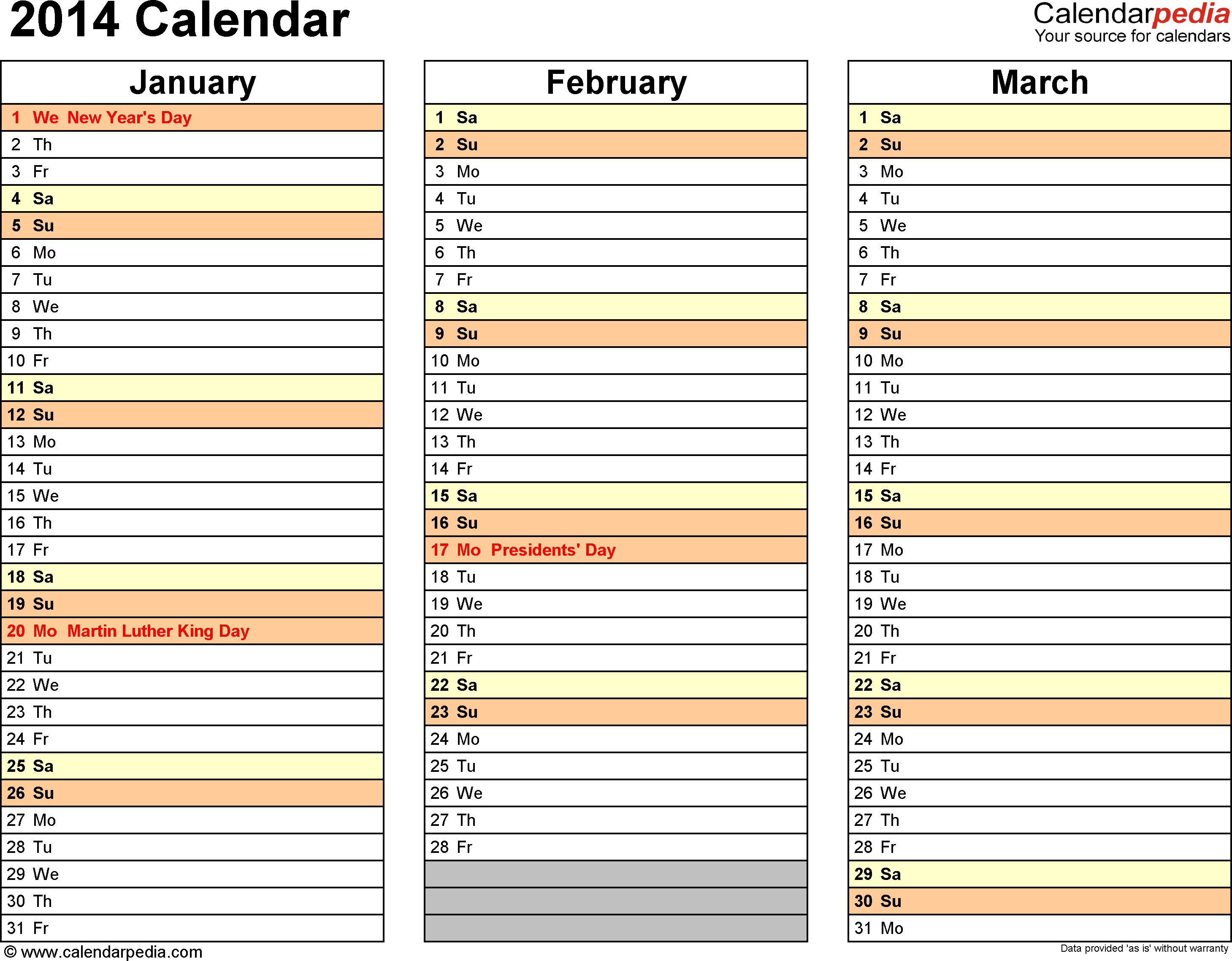 Download Word template for 2014 calendar template 6: landscape orientation, 4 pages, months horizontally, days vertically, with US federal holidays 2014, paper format: US letter