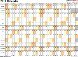 Template 3: 2014 Calendar for PDF, days horizontally (linear), 1 page, landscape orientation