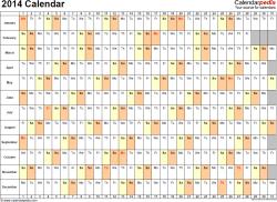 Template 6: 2014 Calendar for PDF, days horizontally (linear), 1 page, landscape orientation