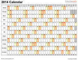 Download Word template for 2014 calendar template 3: landscape orientation, 1 page, days horizontally, months vertically, with US federal holidays 2014, paper format: US letter
