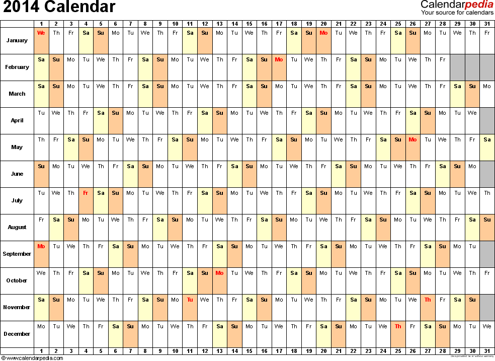 Download Excel template for 2014 calendar template 3: landscape orientation, 1 page, days horizontally, months vertically, with US federal holidays 2014, paper format: US letter