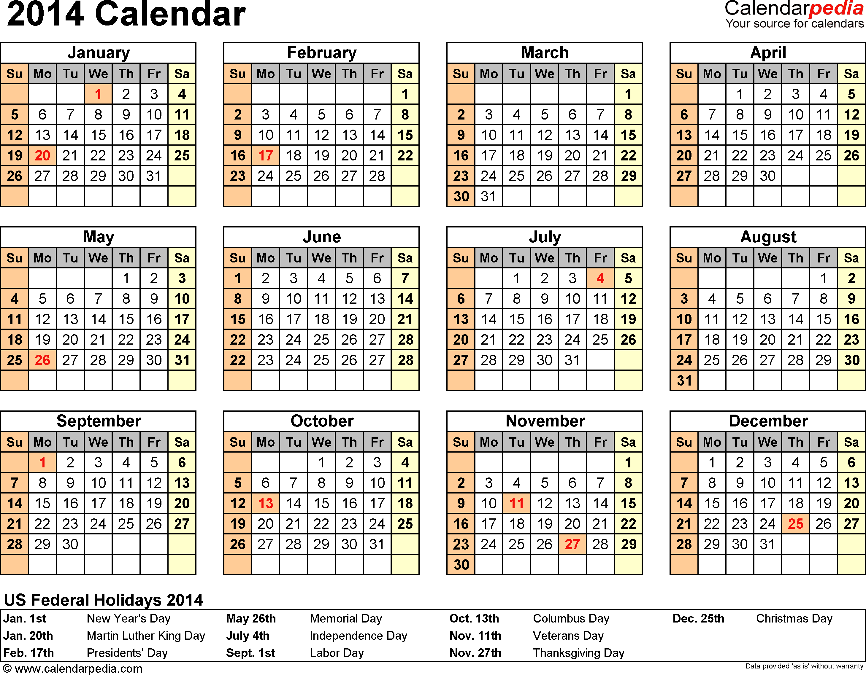 Download PDF template for 2014 calendar template 7: year overview, 1 page, with US federal holidays 2014, paper format: US letter