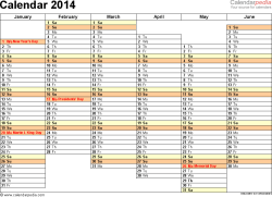 Template 5: 2014 Calendar for Word, months horizontally, 2 pages, days of the week in line, landscape orientation