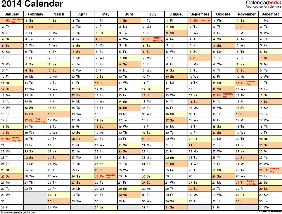 Template 2: 2014 Calendar for Excel, landscape, 1 page