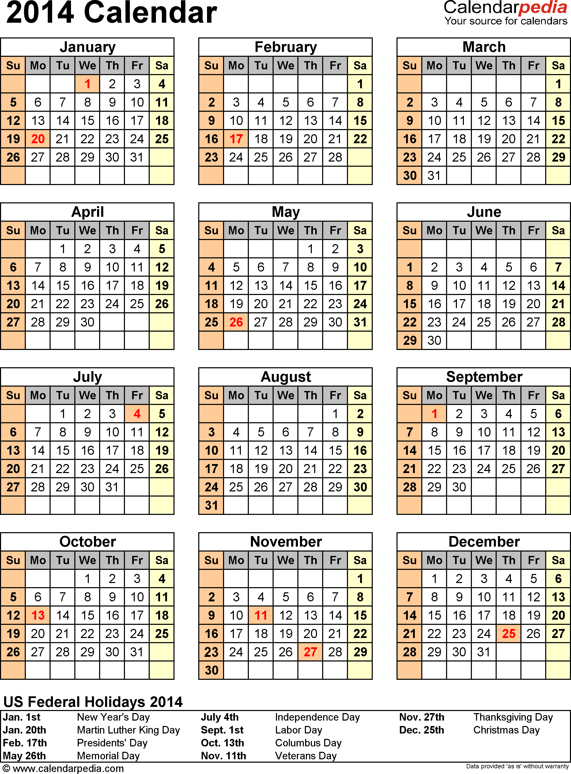 Download PDF template for 2014 calendar template 11: portrait orientation, 1 page, with US federal holidays 2014, with US federal holidays 2014, paper format: US letter