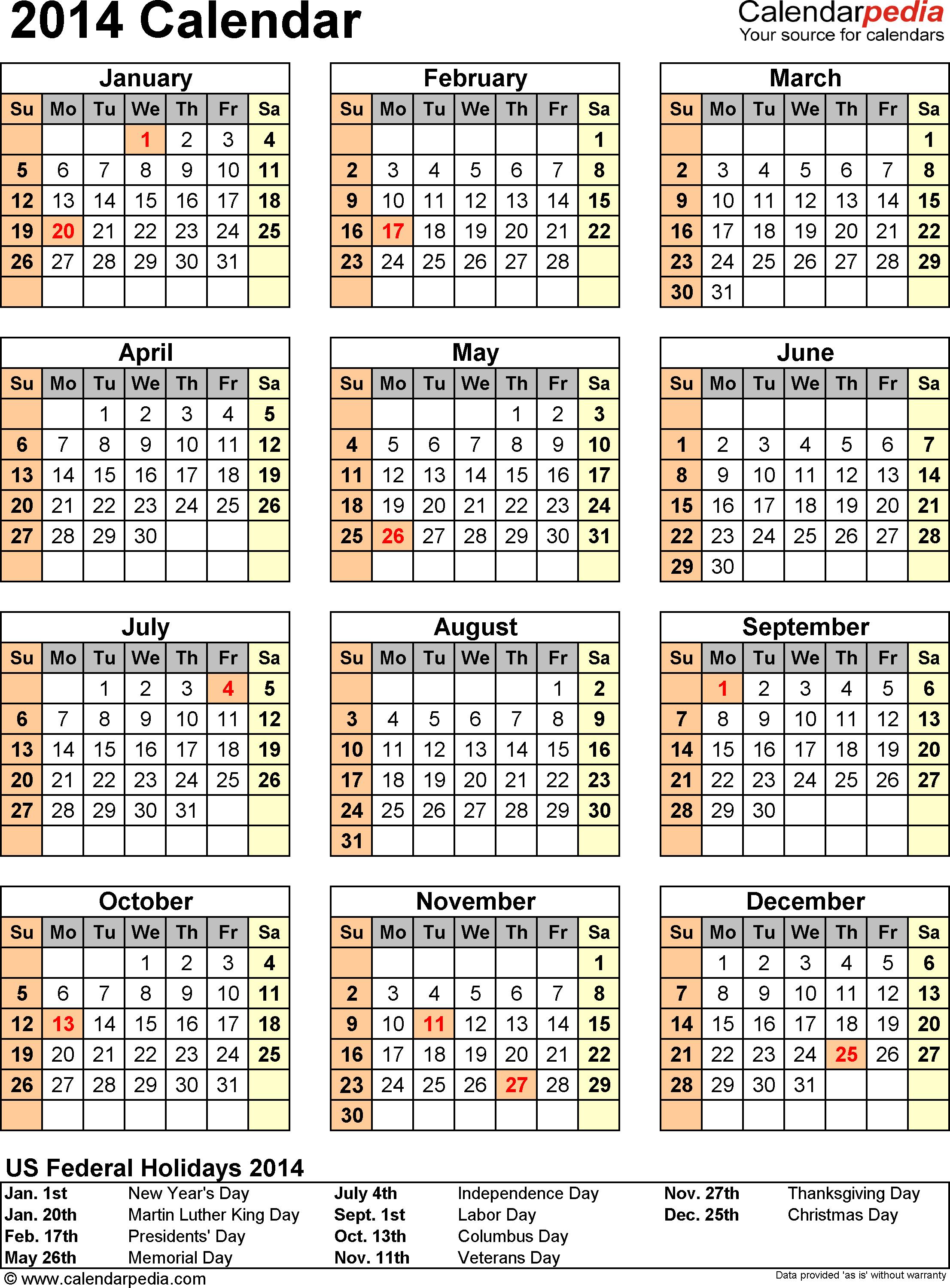 Download Template 13: 2014 Calendar for Excel, portrait, 1 page
