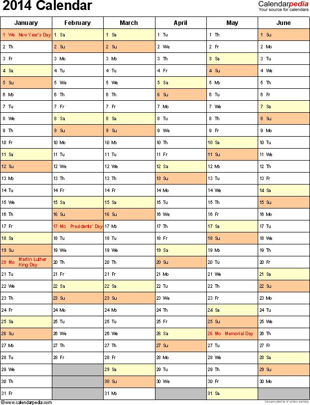 Template 10: 2014 Calendar for Excel, portrait, 2 pages