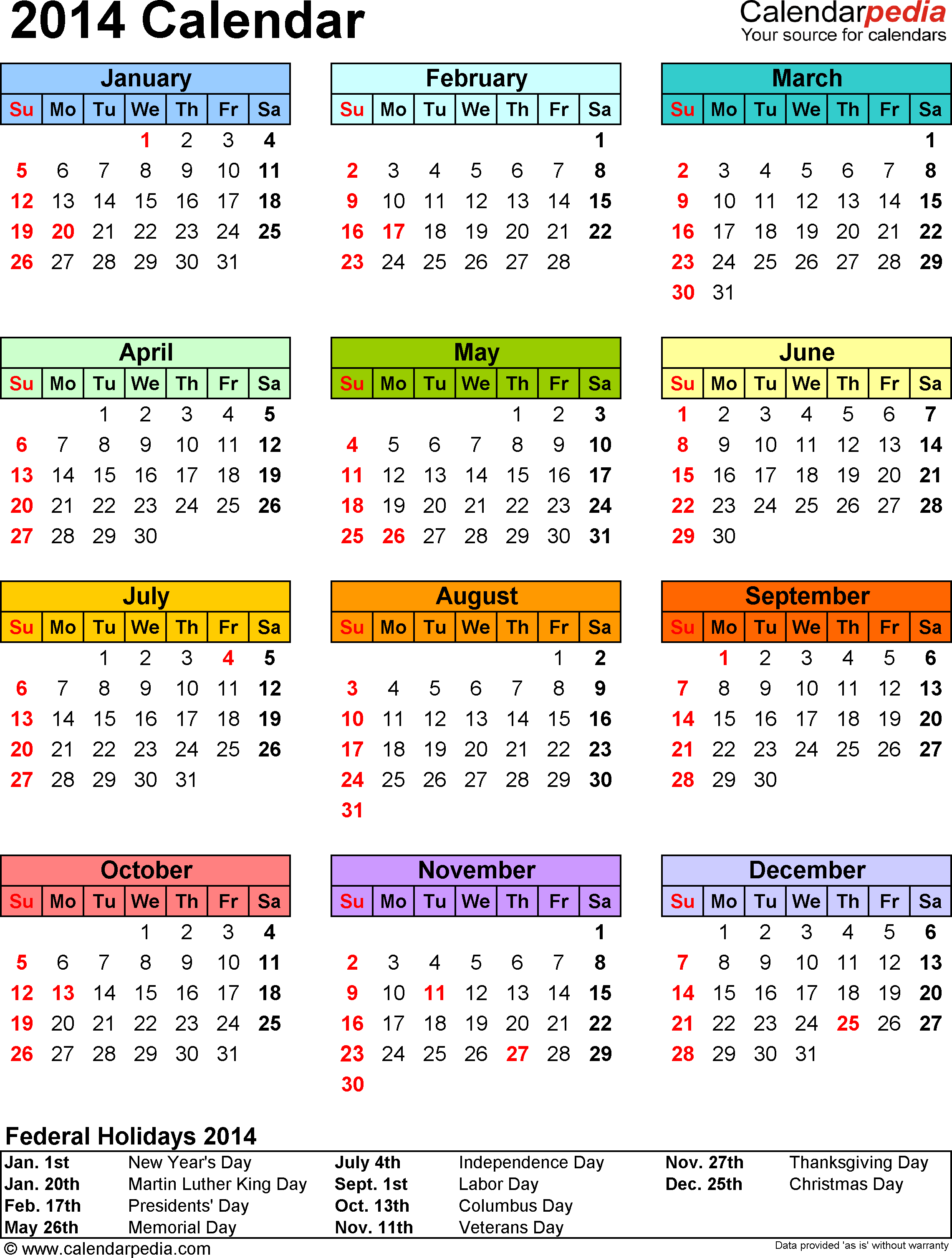 Template 12: 2014 Calendar for Excel, 1 page, portrait orientation, in color