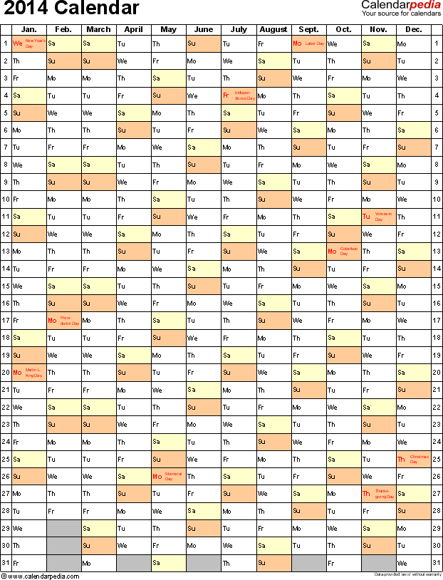 Template 9: 2014 Calendar for Excel, portrait, 1 page
